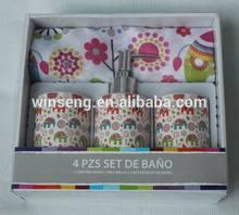 4PCS Cheap Ceramic cute elephant decal Bathroom Set with shower curtain WS1063-BS-1614