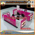 2014 modular color rosa 4 asientos ceja rosca quiosco de dama de la belleza de la barra