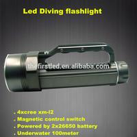 Underwater 100 meters 3500LM 4xCREE XML2 Aluminum Alloy LED Professional Portable diving flashlight 4000 lumens