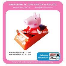 mini plastic car toy with a mini pig