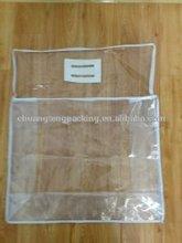 Customized clear pvc zipper top pvc bag EVA handle on top pvc packing bag