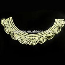 Latest design cotton chemical embroidery lace applique neck ornament HY-9L