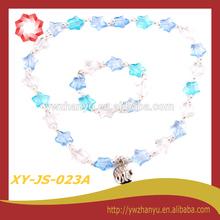 Fashion pearl with star acrylic elastic kids jewelry set