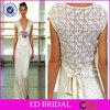 2015 New Fashion Style Sheath Cap Sleeve V-neck Crochet Wedding Dress