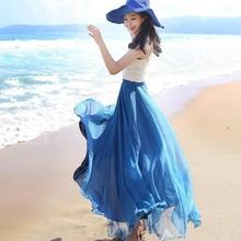 Women wear bohemian style clothing summer plain plus size women's chiffon long skirt(M10130A)
