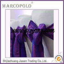 2014 new design Chinese satin ruffled chair sash/wholesale purple wedding ruffled chair sash