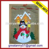 2015 cheap promotion drawstring gift bags wrap printed hessian bag