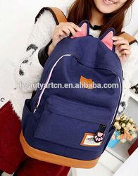 Women Cartoon Cat Ear Shoulder Bag Backpack Schoolbag Canvas Backpacks Travel Hiking Bags JH-BG-100