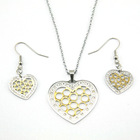 Hot Costume fashion heart pendant jewelry crystal necklace and earring sets