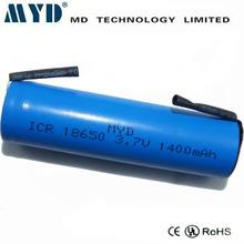 3.7V 1400mAh li ion battery 18500 / battery baby toy car