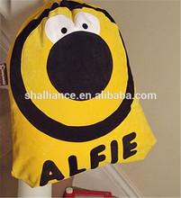 Children's personalised animal character nursery pre-school drawstring bag.