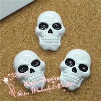 resin flat back white skull for Halloween Resin Cabochons 19*26mm
