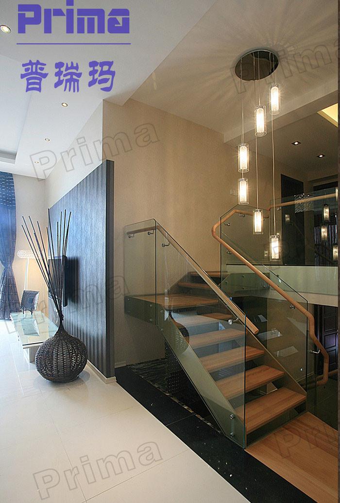 Moderne overdekte glazen balustrade met houten leuning ontwerp balustrades en leuningen product - Ontwerp leuning ...