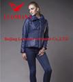 Réel bleu veste en cuir femmes 2014