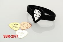 SBR-2077 Personalized GUITAR PICK Wrist Band Bracelet, Pickbandz, Hand Stamped Metal Pick, your choice of metal