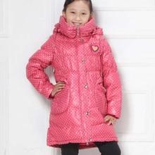 TAW19049 winter Girls long thick brown jacket children jacket polka dot girls jacket