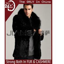 FWG010 Winter fake fur men long coat with collar