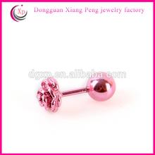 Surgical Steel Pink Rose ear Stud Earrings