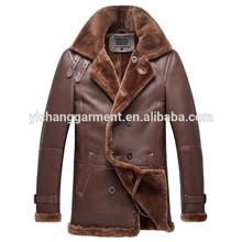 Men Double Breasted Shearling Sheepskin Coat