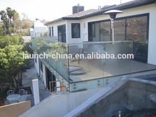 Frameless glass balustrade used mini top slot for stainless steel handrail, top slot handrail