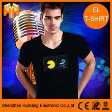El Animated Flashing T-shirt, animation designs, Sound Sensor/sensitive El T-shirt