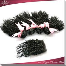 5a mongolian kinky curly hair cheap lace closure,virgin hair bundles with lace closure