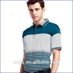 2014 summer fashionable men 's lapel assorted colors striped cotton poloT-shirt