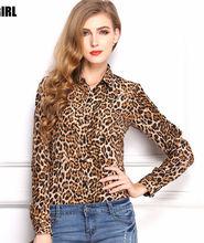Wholesale new tops ladies long sleeve woman chiffon fashion leopard blouse