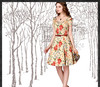 Women Retro Floral Print Slim Fit Casual Dresses V-Neck Belt Cinched Waist Swing Hem Short Sleeve Cotton Dress