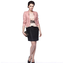 Latest design elegant lady short snaps jacket