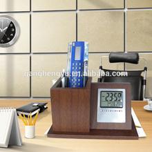 Factory supply green wood brush pot clock,Calendar pen holder