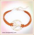 Cordão de couro por atacado prata charme paz pulseira símbolo