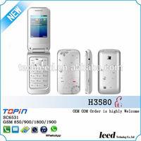 chinese dual sim card mini mobile phone flip GSM850/900/1800/1900 sc6531 500mAh batery colorful cheap telephone H3580