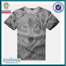 high quality animal print cotton soft men o-neck t-shirt
