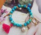 wedding plastic bead Korean style alloy ring and tassel charm charm bracelet