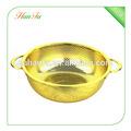 De color de oro estilo real dos orejas colador de acero inoxidable, colador, cesta de frutas