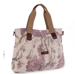 Traditional China peony flower canvas elegant lady tote bags vintage medium woman shoulder bags