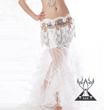 Peacock Pattern White Belly Dance Mermaid Skirt teen girl dress costumes