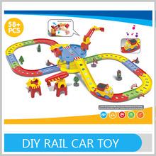 DIY Cartoon Battery Operated Rail Car Plastic Puzzle Toys
