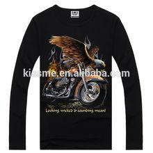 Fábrica de impressão 100% algodão de manga comprida motocicleta impressão últimas roupas fotos de moda