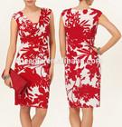 High Waist Career Dress,Ladies Print Career Dress,Cowl Neck Dress Design