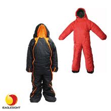 Human body shaped wearable sleeping bag in human shape