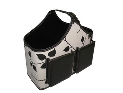 Leaf linen storage tote with two pockets
