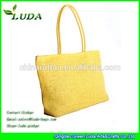 Luda bright yellow colour paper cloth straw beach bag
