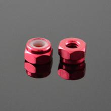Imported aluminum ended locknut / lock / slip / retaining nylon ring nut M4 red color E00198