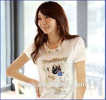top sell white t-shirt 2014 fashionable chic woman custom t-shirt printing