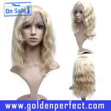 For White Women Fashion Mongolian Virgin Long Wavy Human Hair Wig