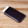 Dark blue leather phone case leather slim sleeve for 5s matched vegetable tanned leather phone case with one curve