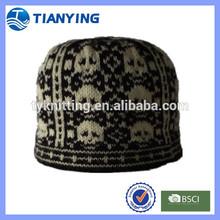 black jacquard wool knit skull caps winter beanie hats
