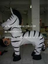2 Person Wearing Fur Zebra Horse Mascot costume Customized Zebra Mascot